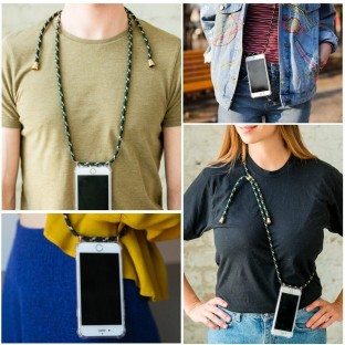 iPhone Xr Necklace Rubber Mobile Phone Case with Cord Black