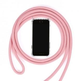 Huawei Mate 20 Pro Necklace Handyhülle aus Gummi mit Kordel Rosa