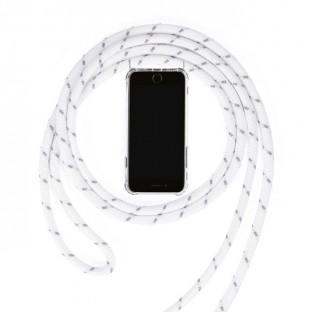 Huawei Mate 20 Necklace Handyhülle aus Gummi mit Kordel Weiss