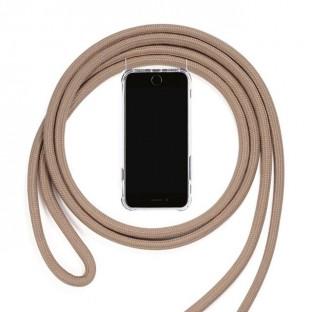 Huawei P20 Lite Necklace Custodia per cellulare in gomma con cavo Marrone