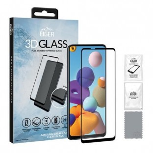 Eiger Samsung Galaxy A21s 3D Glass display protection glass suitable for use with cover (EGSP00618)