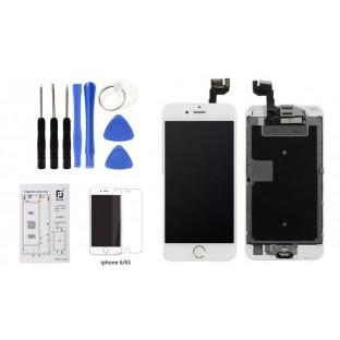 Komplettset: iPhone 6S Komplettdisplay Weiss vormontiert mit 8 in 1 Werkzeugset und Schutzglas (A1633, A1688, A1691, A1700)