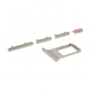 Sim Tray Karten Schlitten Adapter mit Power, Volume und Mute Button für iPhone 11 Silber