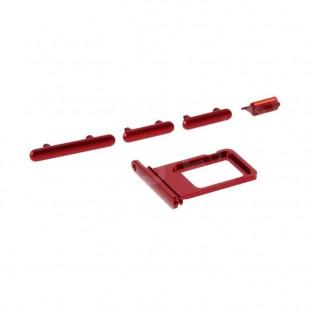 Sim Tray Karten Schlitten Adapter mit Power, Volume und Mute Button für iPhone 11 Rot (A2111, A2223, A2221)