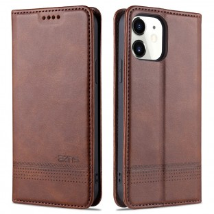iPhone 12 / 12 Pro Leder Tasche / Hülle Braun