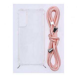 Samsung Galaxy S21 Necklace Étui en caoutchouc pour téléphone portable avec cordon rose
