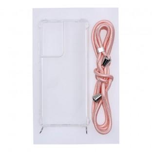 Samsung Galaxy S21Ultra Necklace Étui en caoutchouc pour téléphone portable avec cordon rose
