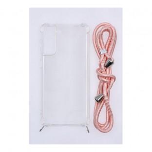 Samsung Galaxy S21 Plus Necklace Étui en caoutchouc pour téléphone portable avec cordon rose