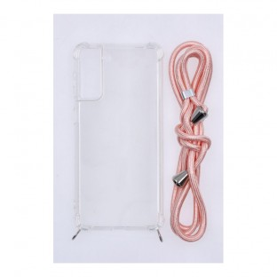 Samsung Galaxy S21 Plus Necklace Mobile phone case rubber with cord Pink