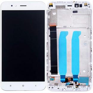 Xiaomi Mi A1 LCD Ersatzdisplay + Rahmen Vormontiert Weiss OEM