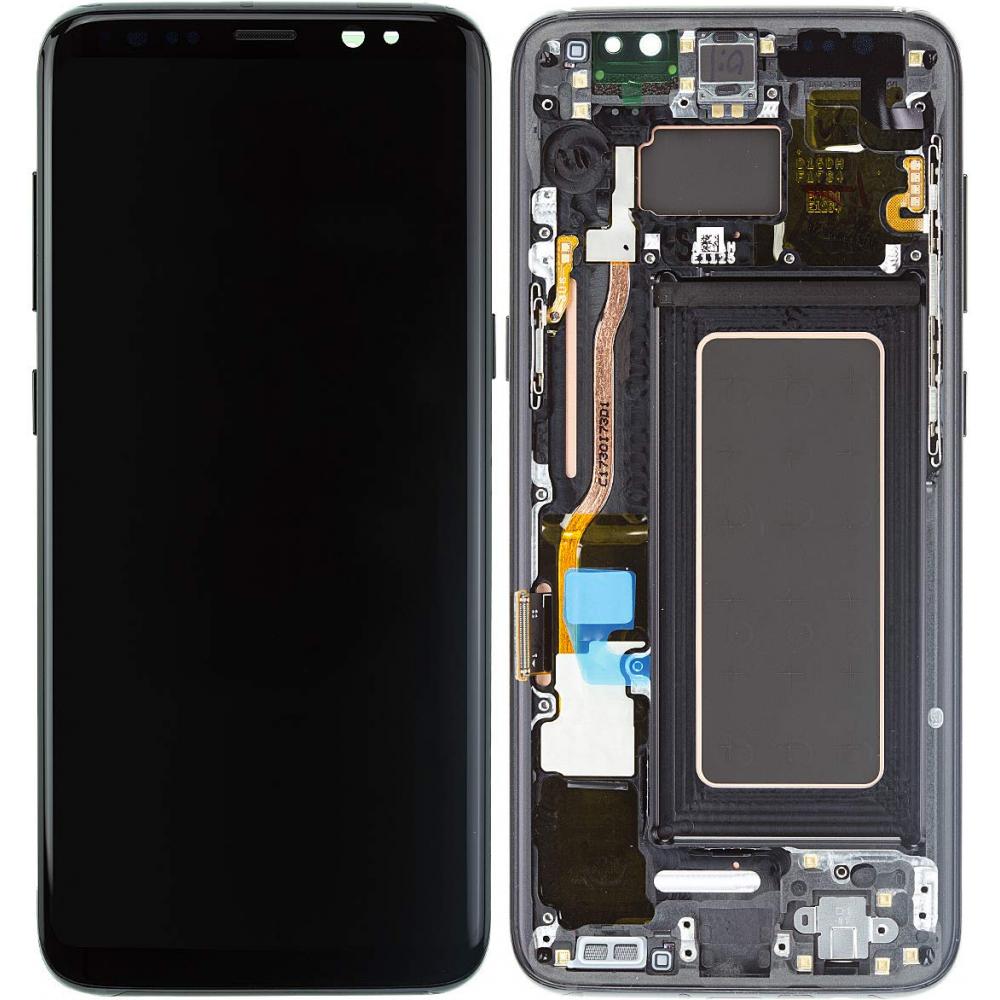 Samsung Galaxy S8 LCD Digitizer Ersatzdisplay + Rahmen Vormontiert Schwarz