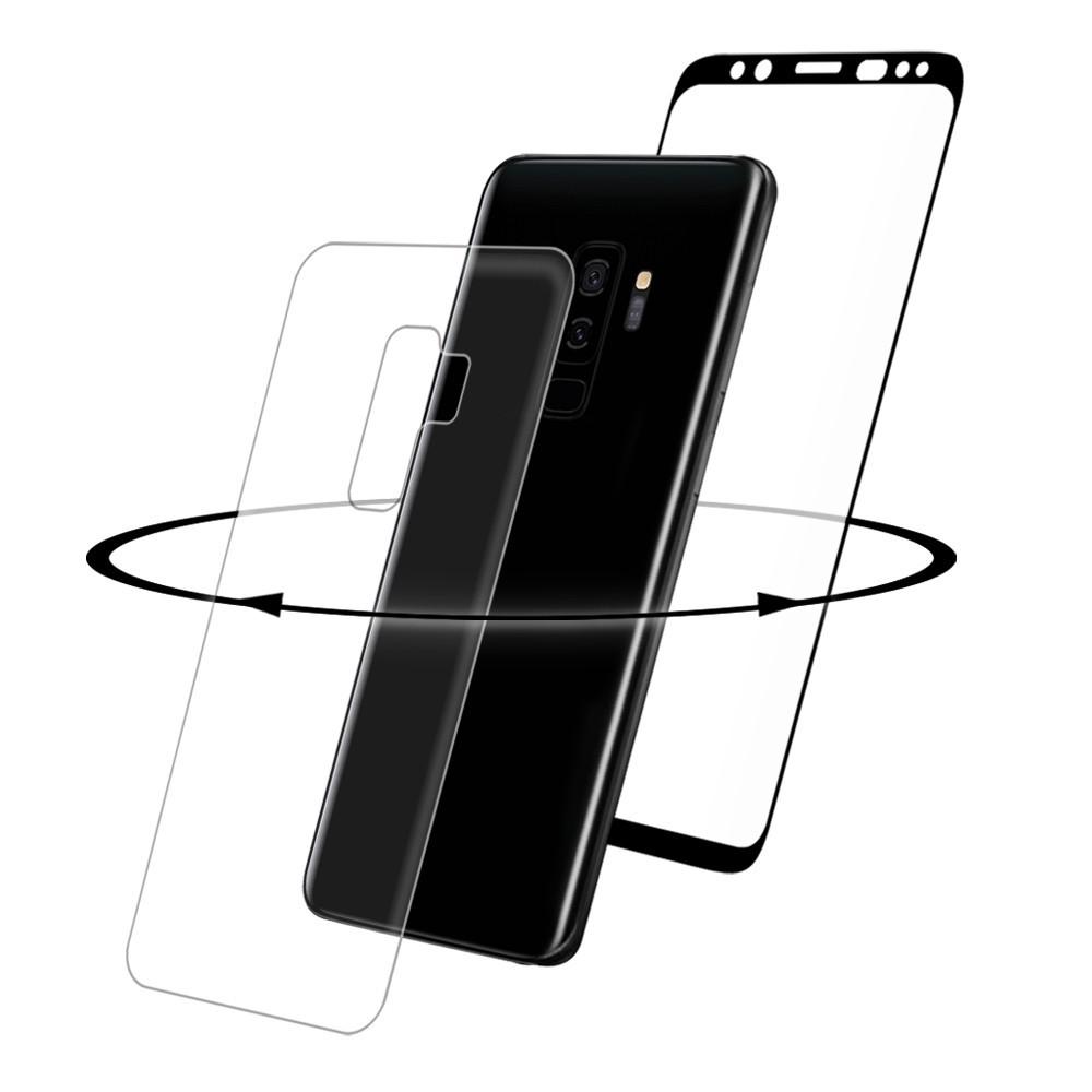 2er Set Eiger Samsung Galaxy S9 Plus 3D Vollbild 360° Panzer Glas Display Schutzfolie mit Rahmen Schwarz (EGSP00208)