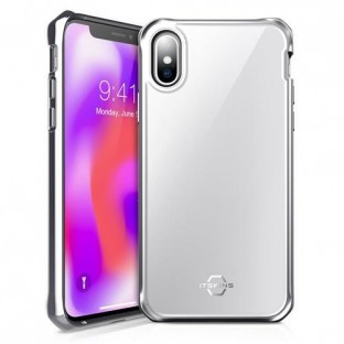 ITSkins IPhone Xs Max Hybrid Glass Protection Hardcase Cover (Drop Protection 2 meters) White / Silver (APXP-IRIDM-SLVR)